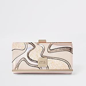 Pink glitter cut about cliptop purse
