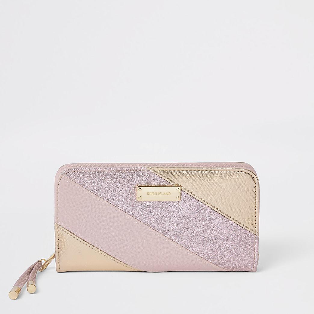 Roze portemonnee met rits rondom en glitter streep