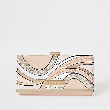 Pink glitter swirl cutabout cliptop purse