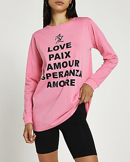Pink graphic print long sleeve t-shirt