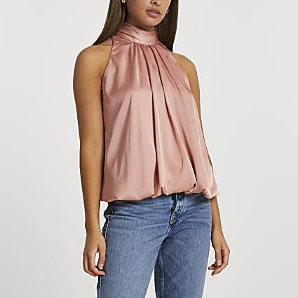 Pink halter neck bubble hem top