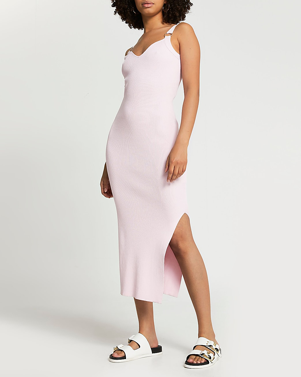 Pink hardware strap ribbed midi dress