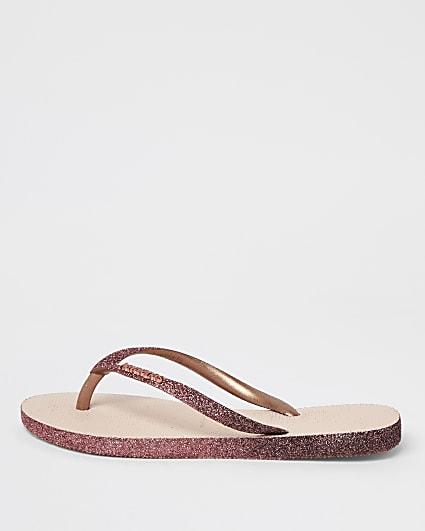 Pink Haviana glitter flip flops