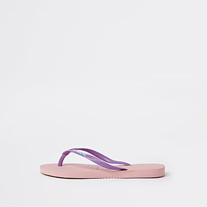 Pink Haviana slim flip flop