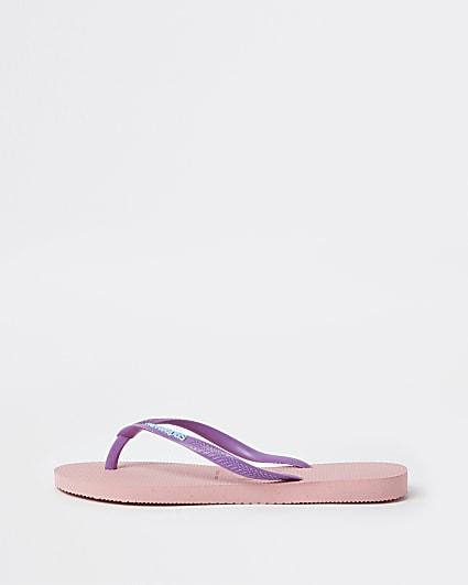 Pink Haviana slim flip flops