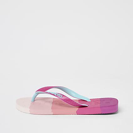 Pink Haviana stripe flip flops