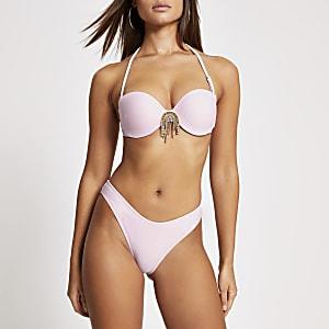 Felroze hoog uitgesneden bikinibroekje