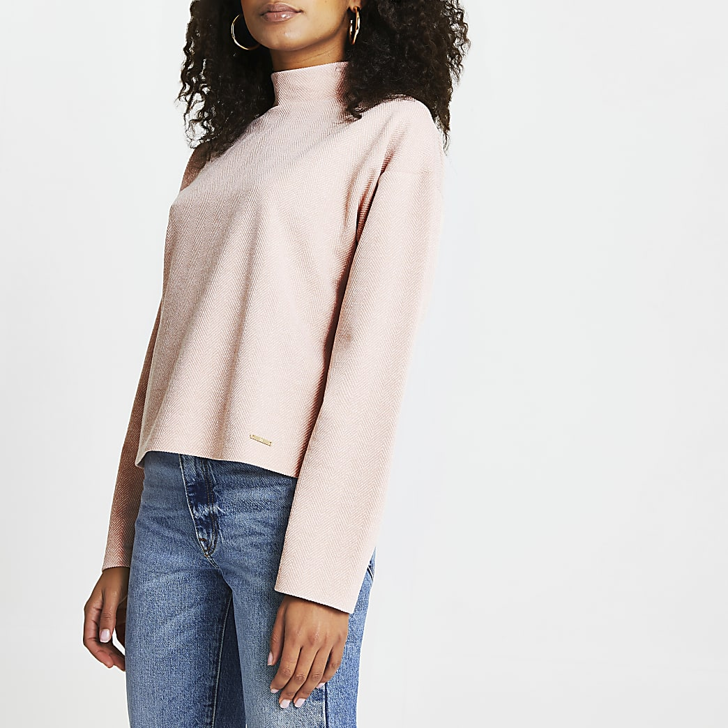 Pink high neck textured long sleeve top