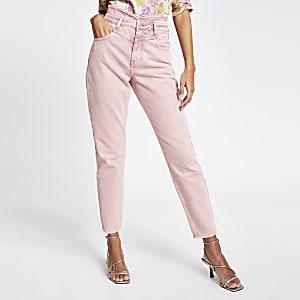 Roze tapstoelopende high rise denim jeans