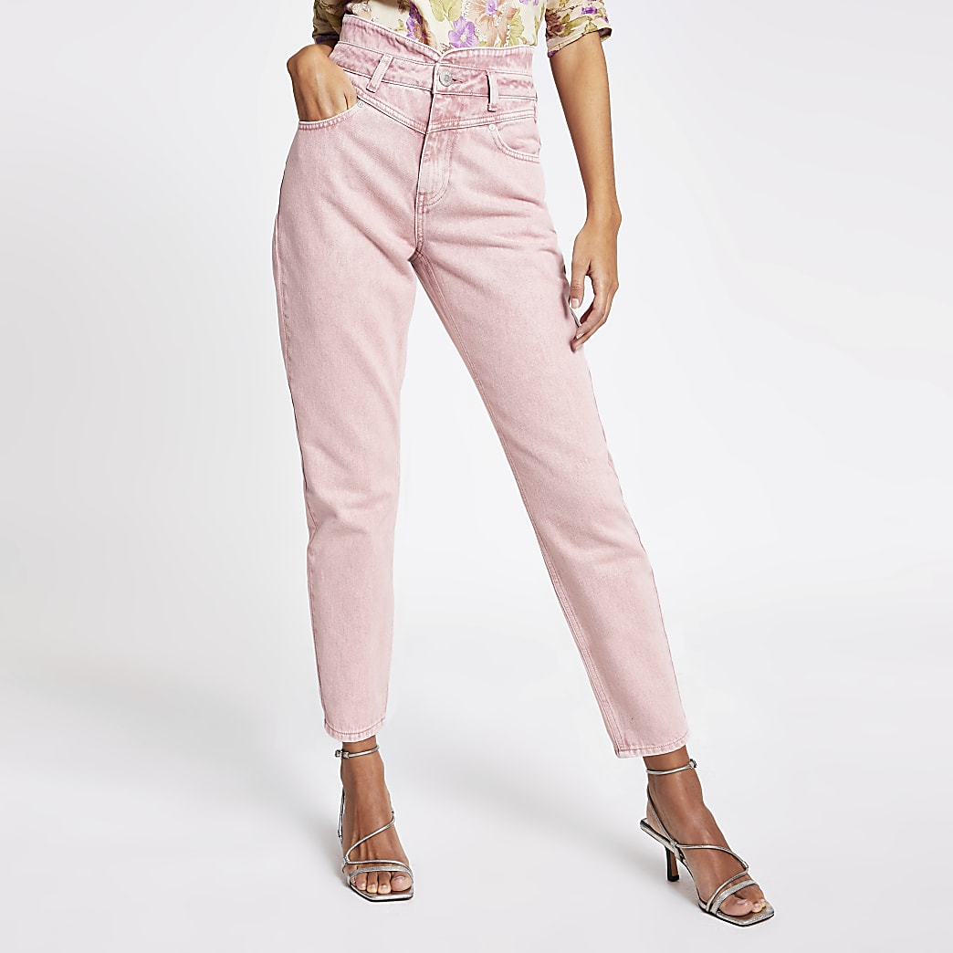Pink high rise tapered denim jeans