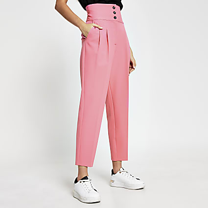 Pink high waist flared trousers