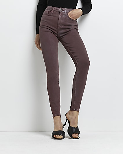 Pink high waisted bum sculpt skinny jeans