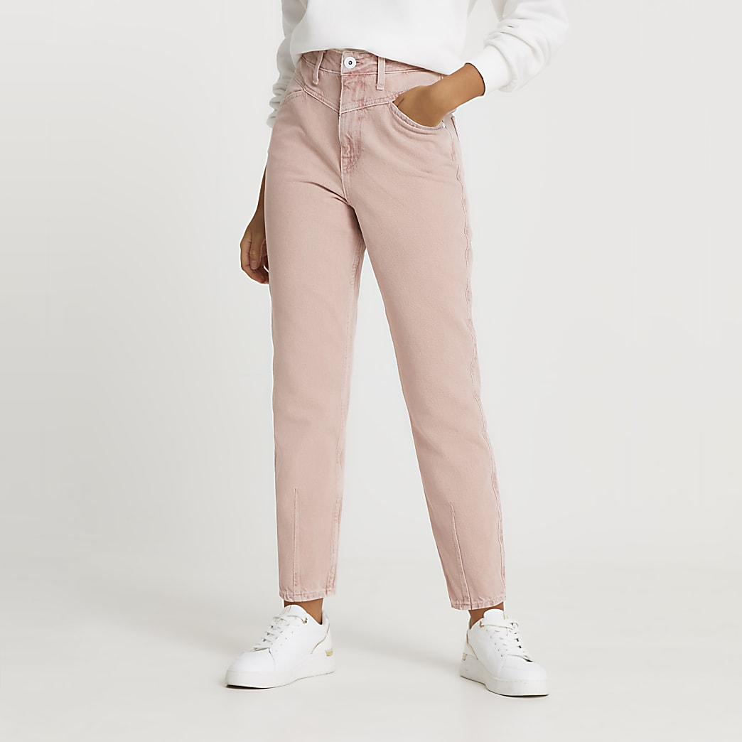 Pink high waisted mom jean