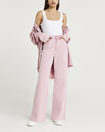 Pink high waisted wide leg jeans