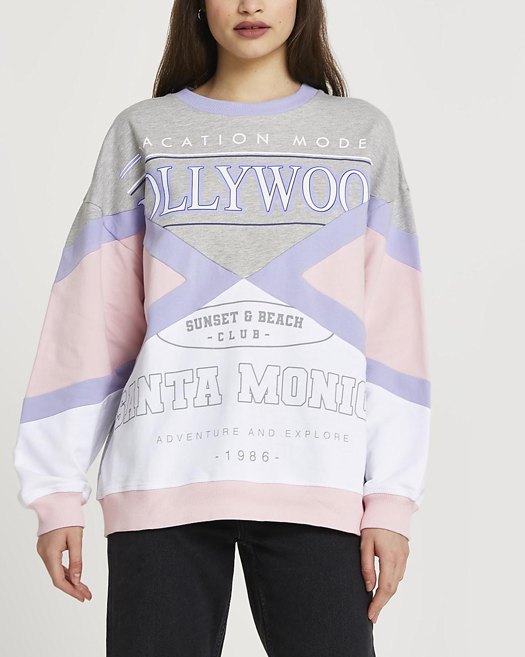Pink 'Hollywood' colour block sweatshirt