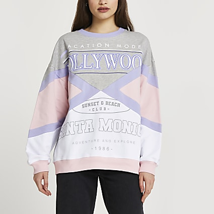 Pink 'Hollywood' colour block sweatshirt