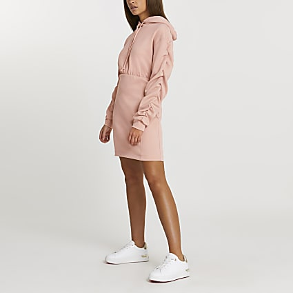 Pink hooded bodycon dress