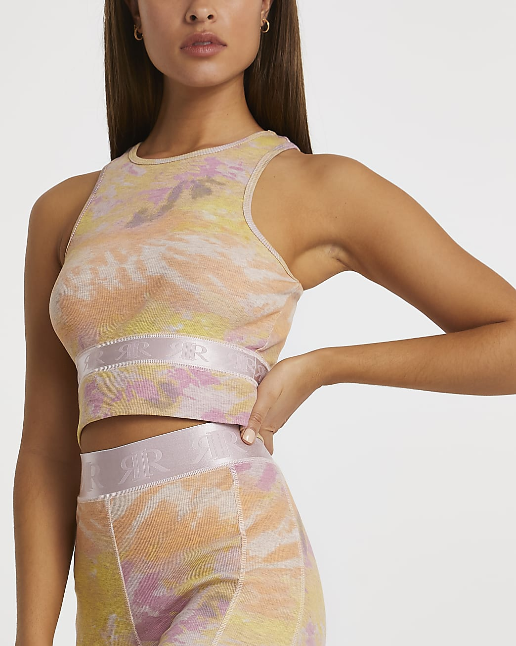 Pink Intimates tie dye ribbed racer top