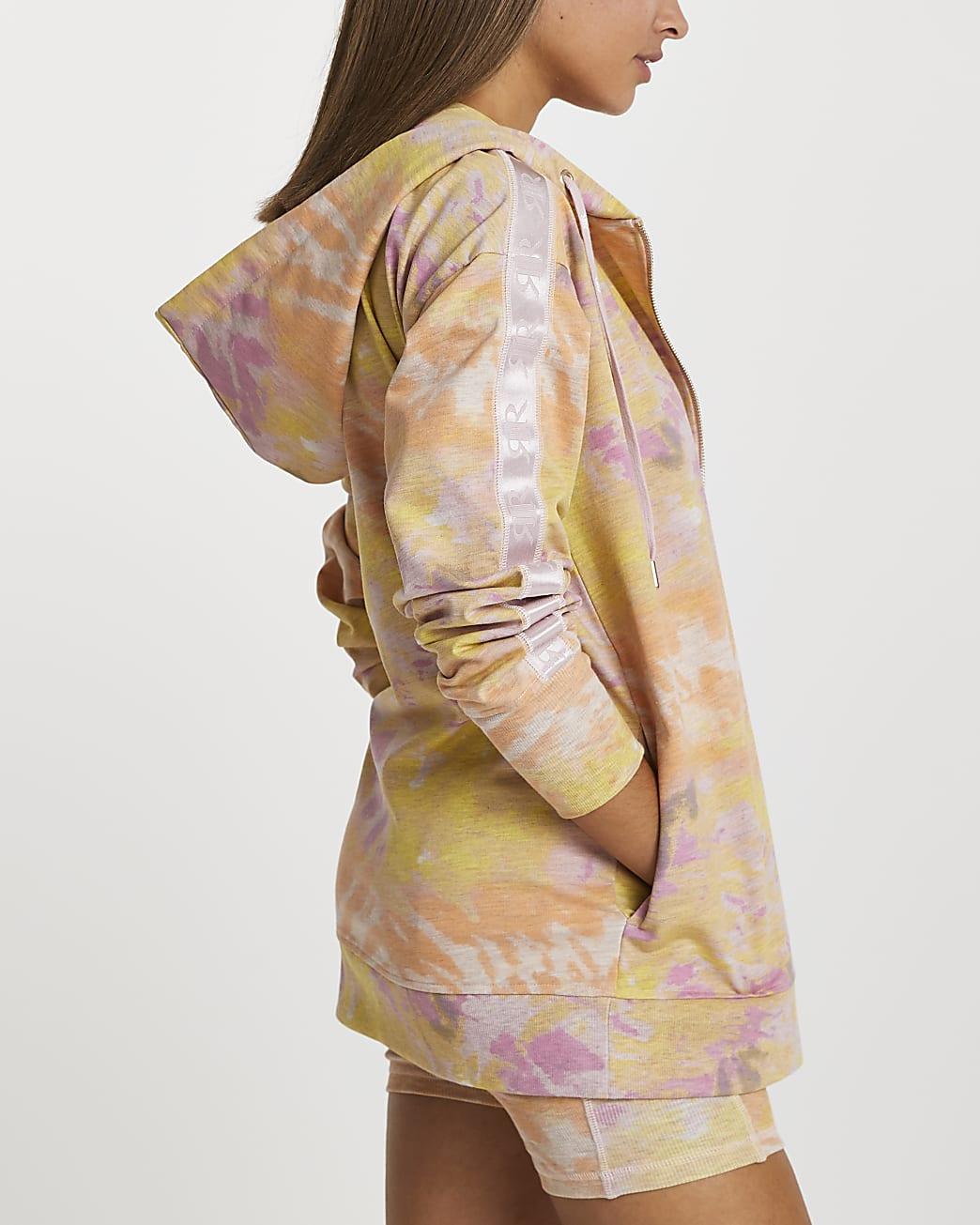 Pink Intimates tie dye zip up hoodie