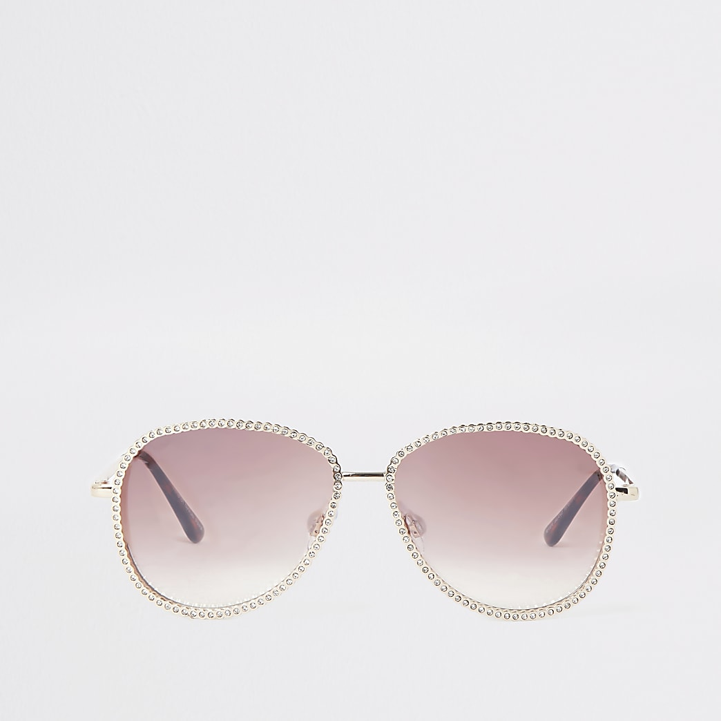 Pink iridescent round embellished sunglasses