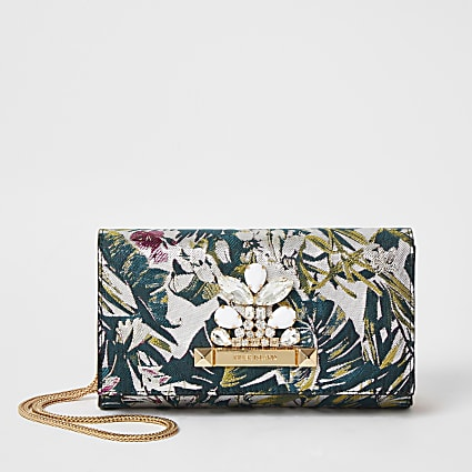 Pink jacquard jewel embellish clutch handbag