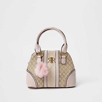 Pink jacquard monogram tote bag