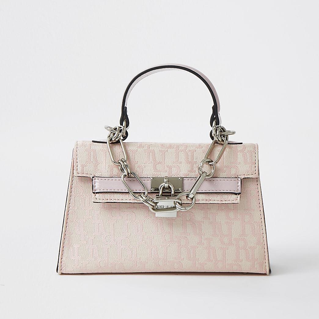 Pink Jacquard RI print mini tote bag