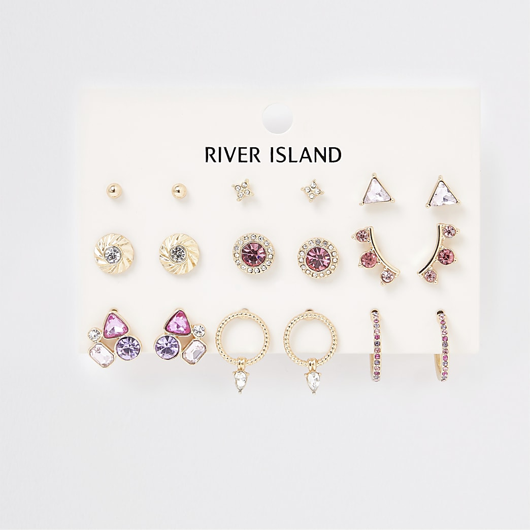 Pink jewel earring pack