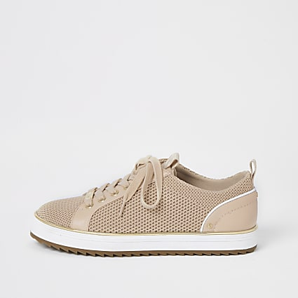 Pink knitted lace-up cleated trainers