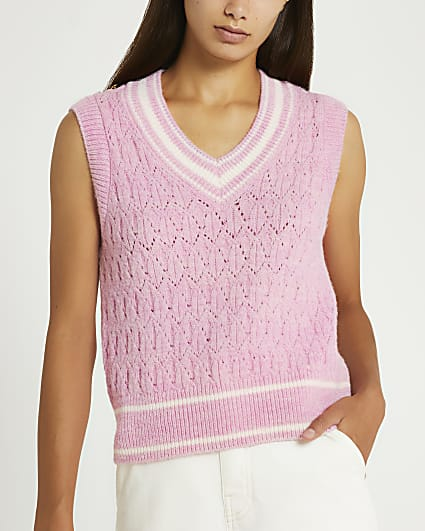 Pink knitted vest