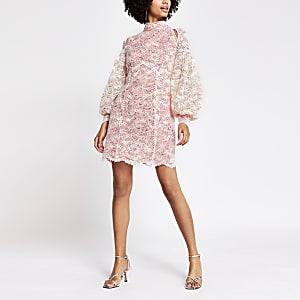 Pink lace cut out mini dress