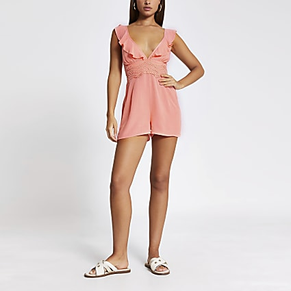 Pink lace frill V neck beach playsuit
