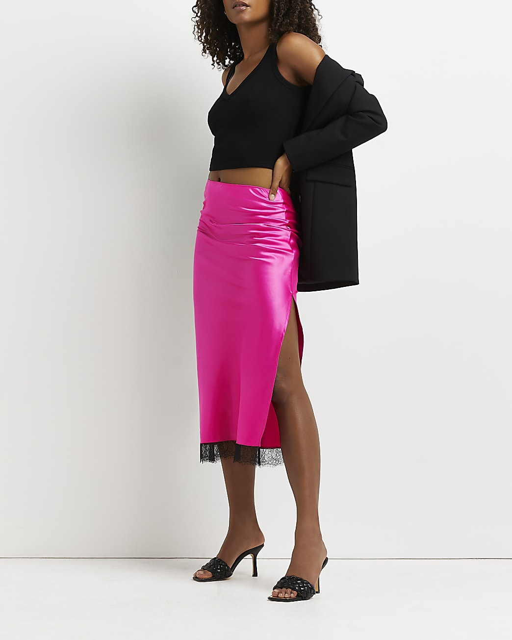 Pink lace hem midi skirt