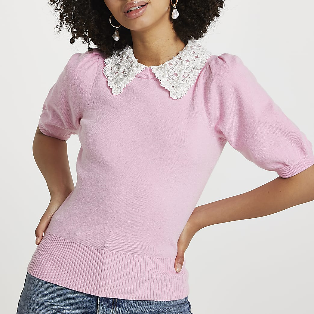Pink lace pearl collared jumper