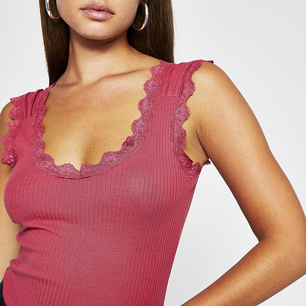 Pink lace pleat strap vest