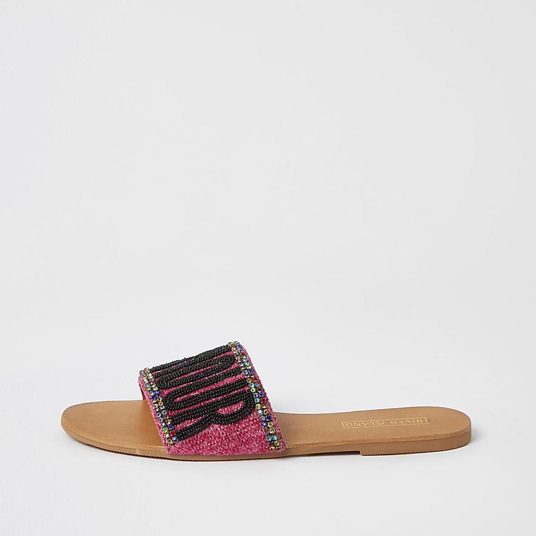 Pink 'L'amour' embellished sandals