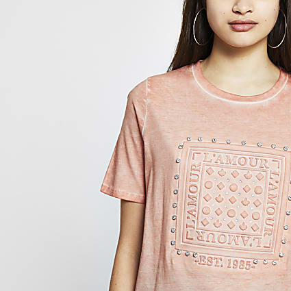 Pink 'L'amour' embossed boyfriend t-shirt