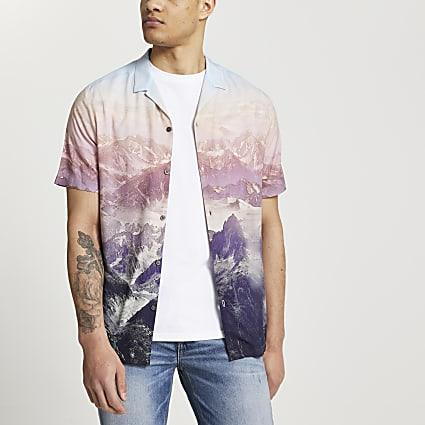 Pink landscape print slim fit revere shirt