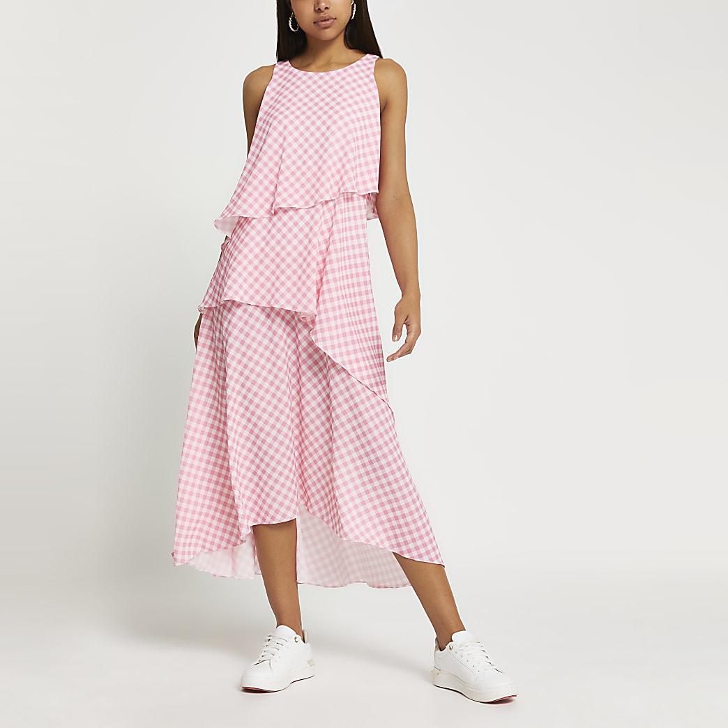 Pink layered gingham asymmetric midi dress