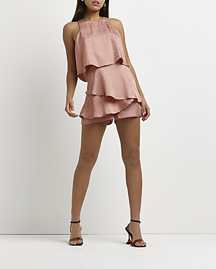 Pink layered playsuit