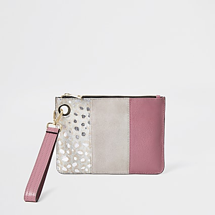 Pink leather leopard print block clutch bag