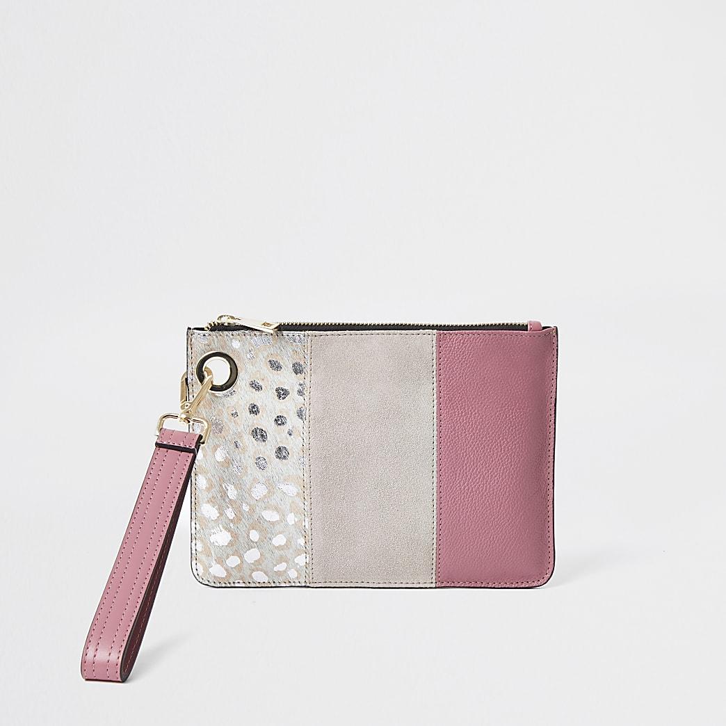 Pink leather leopard print block clutch bag