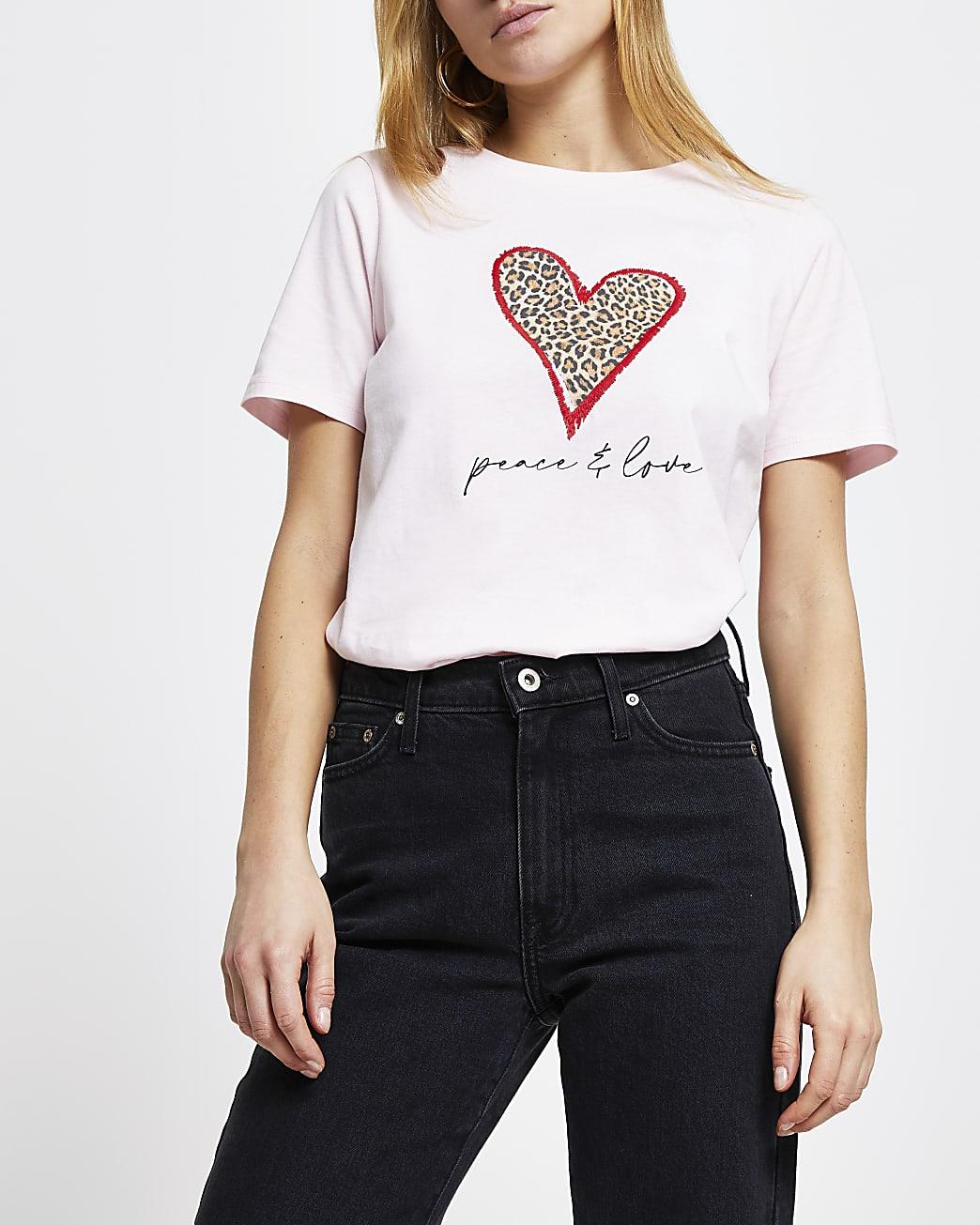 Pink leopard heart 'Peace & Love' t-shirt