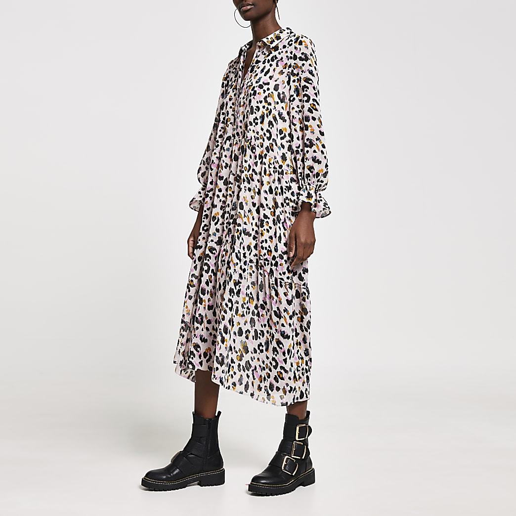 Pink leopard print midi shirt smock dress