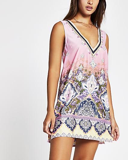 Pink light paisley tunic beach dress