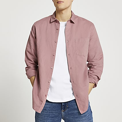 Pink linen long sleeve shirt