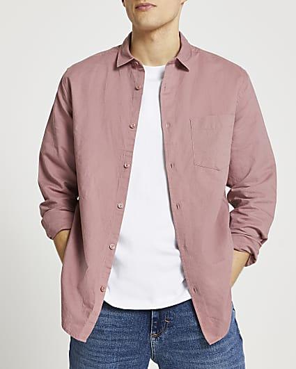 Pink linen long sleeve shirt