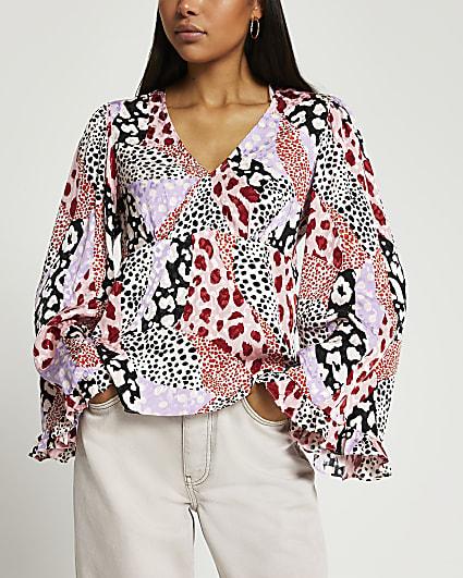 Pink long flute sleeve top