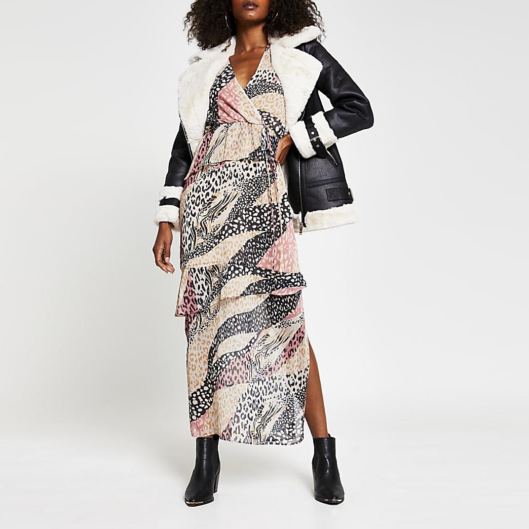 Pink long sleeve animal print maxi dress