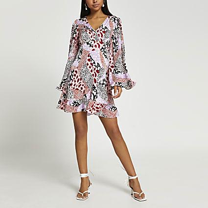 Pink long sleeve animal print tea mini dress